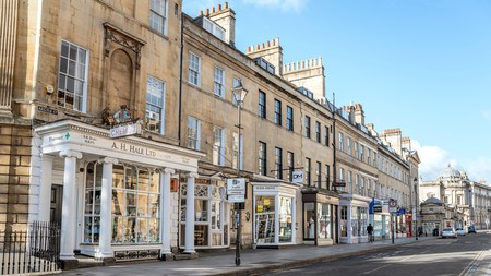 Shops in Argyle Street in the historic city center of Bath, Somerset, England
