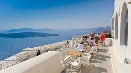 The Santo Winery's balcony is the perfect spot from which to take in magnificent views of Santorini's caldera