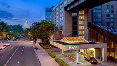 The rooms at the Hyatt Regency Washington on Capitol Hill are spacious and inviting