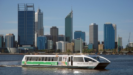 A Swan River ferry arriving at Elizabeth Quay ferry terminal