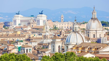 Take a tour of Rome's most impressive buildings, including the imposing Victor Emmanuel II monument in the distance