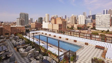 The rooftop of Soho House Chicago looks out over the West Loop