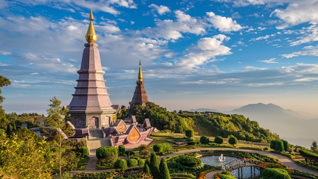 Visit Chiang Mai to see the Doi Inthanon mountain, home to two spectacular chedis