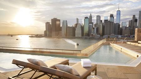 1 Hotel Brooklyn Bridge scoops the award for New York's best view, framing the Manhattan skyline at the foot of Brooklyn Bridge