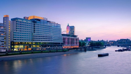 An evening view across the River Thames towards South Bank