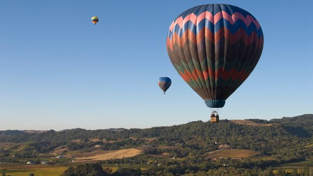 Get an awe inspiring bird's-eye view of Napa Valleys vineyards of from a hot air balloon