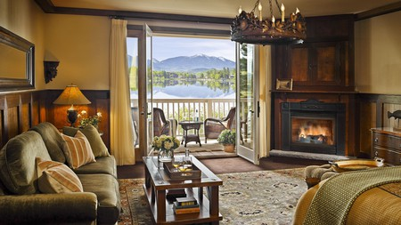 All the rooms at the Mirror Lake Inn Resort & Spa overlook the lake and Adirondack High Peaks