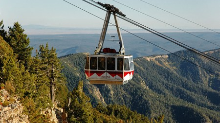Sandia Peak Tramway arrives at top of the mountain, Albuquerque, New Mexico