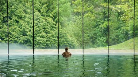 Cowley Manor's heated indoor pool overlooks forests