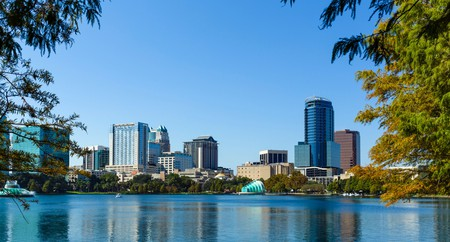 The downtown city skyline from Lake Eola Park, Orlando, Central Florida, USA