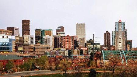 Downtown Denver cityscape in the evening