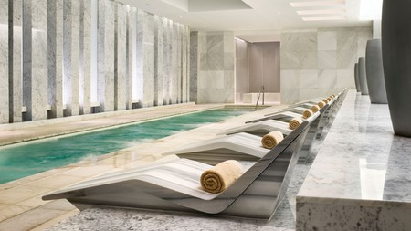 Enjoy a swim in the mineral-enriched pool at the Fontainebleau spa in Miami