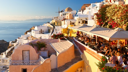 Santorini boasts tasty specialities, many incorporating ingredients native to the island, to sample while taking in the views