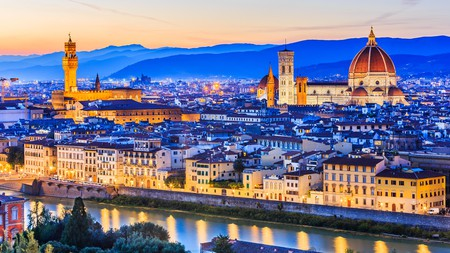 The sun sets on Florence, Italy, one of the most beautiful cities in Europe.