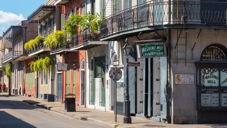 Buildings on Bourbon St, in New Orleans' French Quarter.