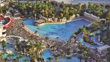 The epic wave pool and surrounding lazy river at Mandalay Bay