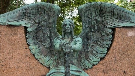 The Haserot Angel, in Lake View Cemetery, Cleveland, Ohio, looks as if he is crying