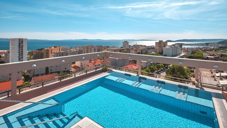 Enjoy the views while taking a rooftop swim at the Dioklecijan Hotel & Residence in Split, Croatia