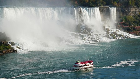 The powerful Niagara Falls sits on the US-Canada border