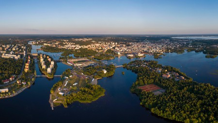 An aerial view of the adjoined islands in Oulu, Finland