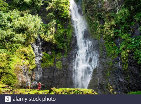 Papenoo Waterfall is one of the cascades that comprise the spectacular Faarumai Waterfalls in Tahiti Nui