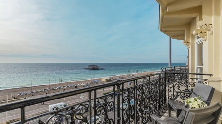 Stay in a balcony-lined landmark overlooking the beach