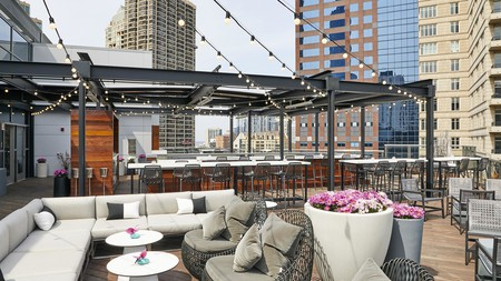 The stylish rooftop of the Conrad Chicago