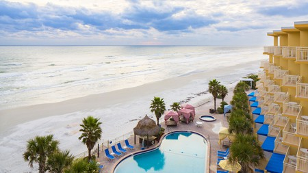 The Shores Resort and Spa sits right on the golden sand of Daytona Beach
