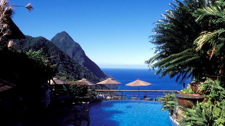 The pool at the Ladera Resort overlooking the volcanic Pitons