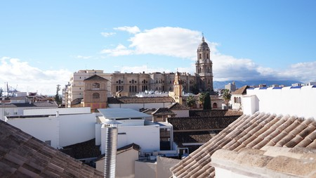 Malaga cathedral, as seen from Apartments Fana
