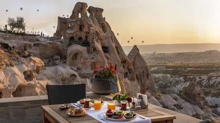 Spend a night at one of Turkey's unique hotels, the Argos Cappadocia, and enjoy your own private stone terrace