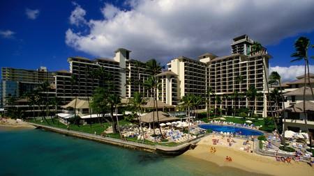 An aerial view of Halekulani Hotel and the beachfront in Waikiki