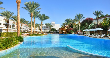 The pool at adult-only Baron Palms Resort