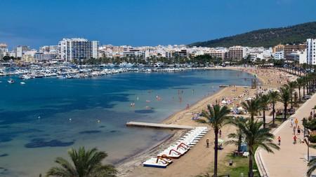 Beach San Antonio Town, Ibiza, Balearics, Spain.