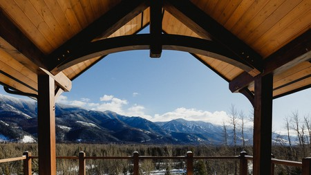 Brooks Creek Resort is backed by thousands of acres of snow-draped pines