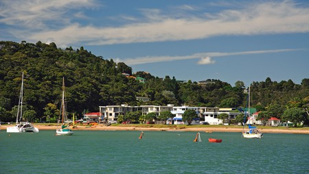Yachts moored near the waterfront in Paihia, New Zealand