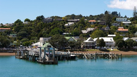 The jetty at Paihia Harbour, which is overlooked by many beachfront hotels
