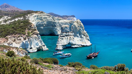 The volcanic island of Milos boasts some of the most beautiful coastal scenery in Greece
