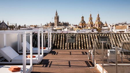 The best views of Seville's royal Alcazar, cathedral and La Giralda bell tower are from these exquisite hotel rooftop pool-decks and spas; relax on a patio with a cold drink under the Spanish sun
