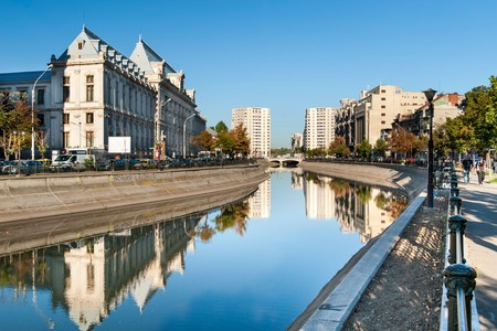 The Dâmbovița River in Bucharest, the capital of Romania.
