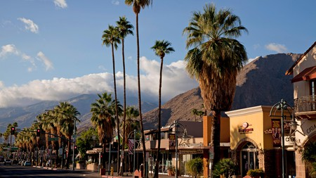 The San Jacinto Mountains provide a stunning backdrop during your romantic stay in Palm Springs, California.