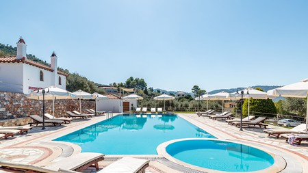 Evlalia Studios and Villas is a laid-back complex of crisp white studios and apartments