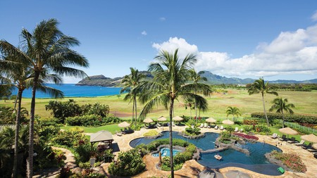 Relax at Marriott's Kauai Lagoons' two-level pool