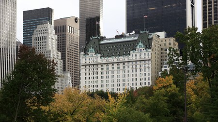 The Plaza Hotel stands proud against the Manhattan skyline