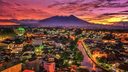 Mount Salak towers over Bogor, Indonesia
