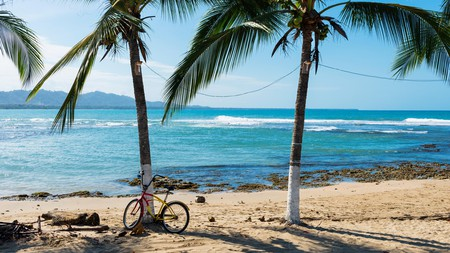Park your bike against a palm tree and enjoy the beaches of Puerto Viejo de Talamanca, Costa Rica