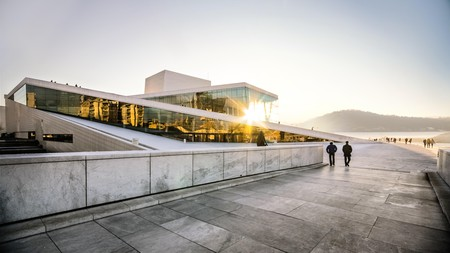 Walk on the roof of the Oslo Opera House, designed to be stepped on