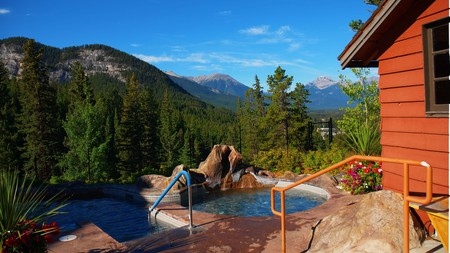 Hot tubs come with a view at the Hidden Ridge Resort, in Banff