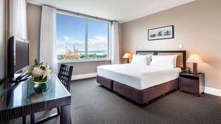 Your room  at the Hilton comes with a staggering view over Lake Taupo