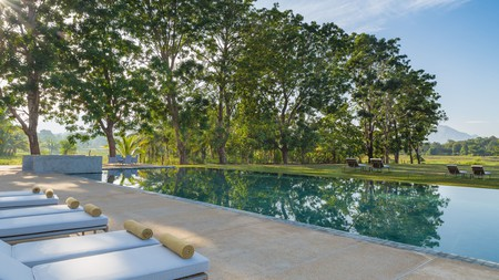 Relax by the tree-lined pool at the Jetwing Lake in Dambulla, Sri Lanka